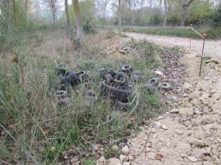 Copertoni abbandonati a due passi dal fiume Saline