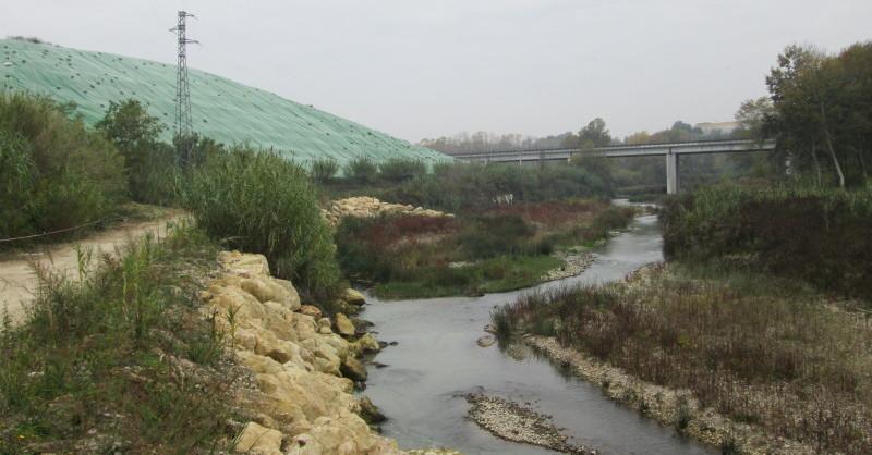 Il fiume Saline. Sulla sfondo la discarica di Montesilvano