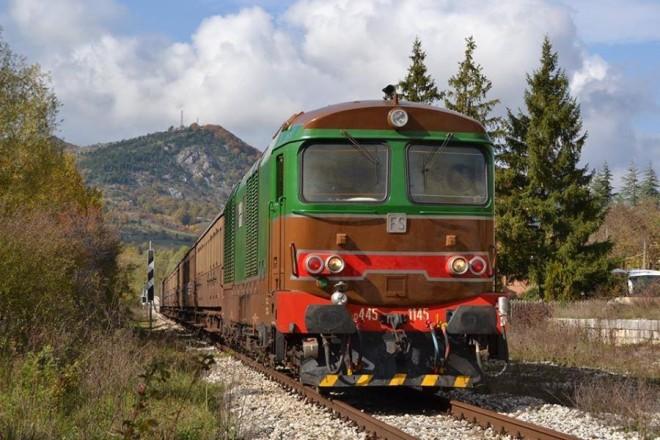 Treno in transito sulla Transiberiana d'Italia
