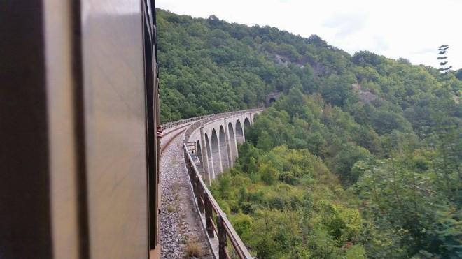 Treno in transito su un viadotto della Transiberiana d'Italia