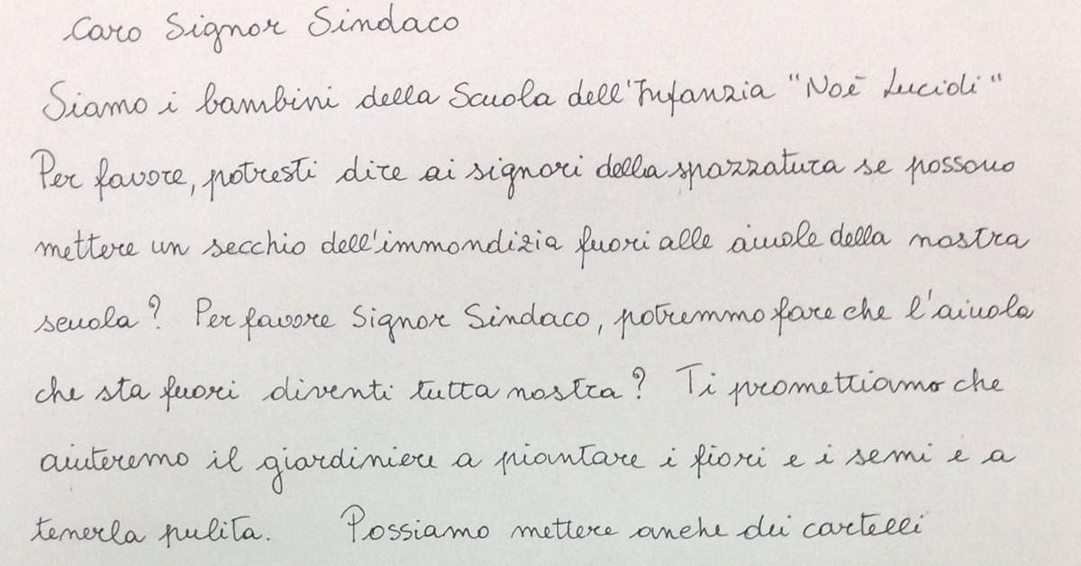 La lettera dei bimbi dell Scuola d'infanzia Noè Lucidi