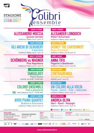 Programma Colibrì Ensemble Stagione 2016-2017